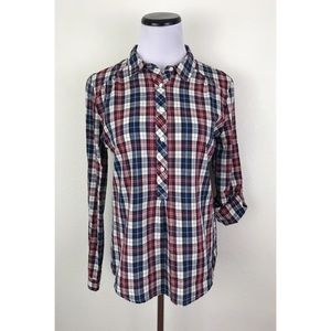 Olive & Oak Plaid Button Pullover Collared Shirt